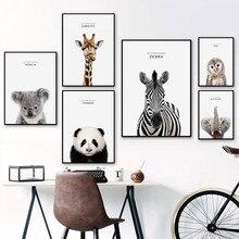 Moderno cartel de cebra con Panda, Koala, Panda, oso Polar, pintura en lienzo, impresión artística para pared, para habitación de niños, decoración del hogar