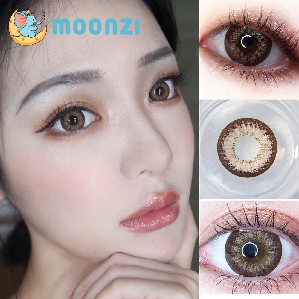 Moonzi cabra preta marrom profundo lente de contato natural grande bela pupila colorido lentes de contato para os olhos anual 2 pcs/par miopia