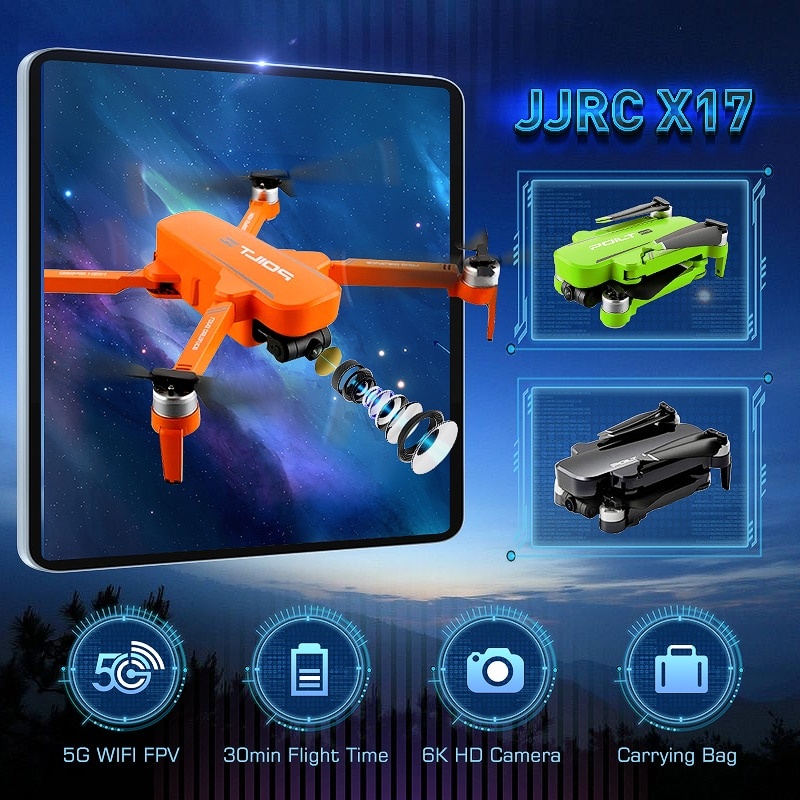 JJRC X17 5G WiFi FPV 6K HD Camera 2-Axis Gimbal GPS Optical Flow Positioning Brushless Motor Foldable RC Drone Quadcopter RTF