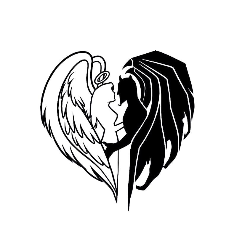 Модная Автомобильная наклейка s Demon Angel Decal, черная/серебряная виниловая Автомобильная наклейка, силуэт, покрывающий тело 14,5*15,1 см