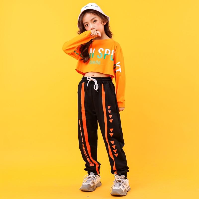 Kinder Kühlen Lose Hip Hop Kleidung Sweatshirt Kurze Top Crop Shirt Lauf Lässige Hosen für Mädchen Jazz Dance Kostüm Kleidung