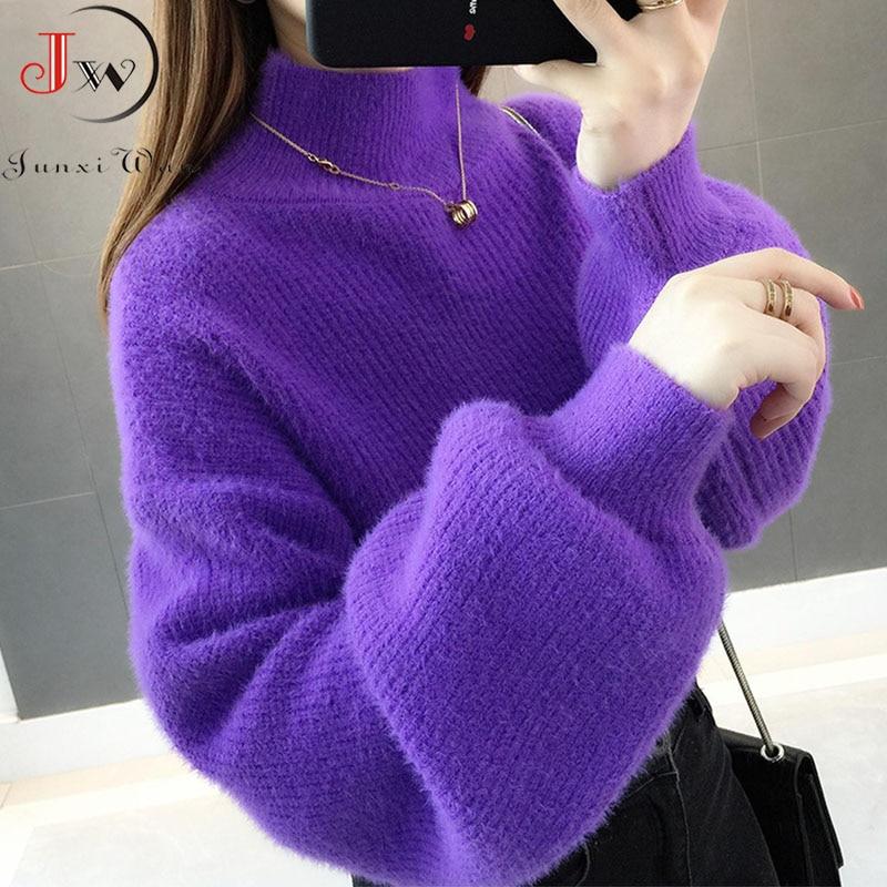 Grosso mohair mulheres blusas gola alta macio lanterna manga curta pullovers moda outono inverno camisola sólida