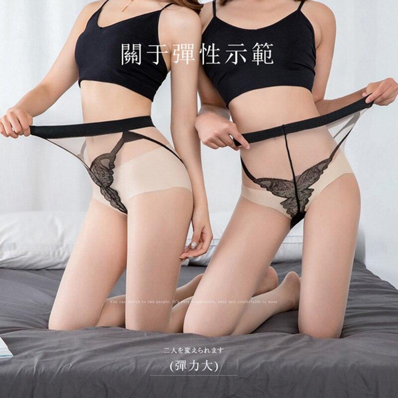 Sexy mariposa entrepierna Jacquard medias transparentes de talla grande piel piernas delgadas Ultra finas Anti-gancho Bikini pantimedias para dama