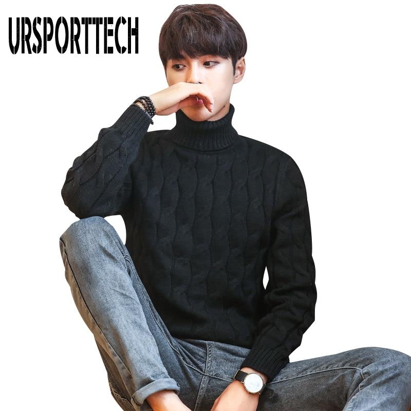 Осенне-зимний толстый теплый свитер с высоким воротом, мужской брендовый свитер с высоким воротником, приталенный пуловер, Мужской трикота...