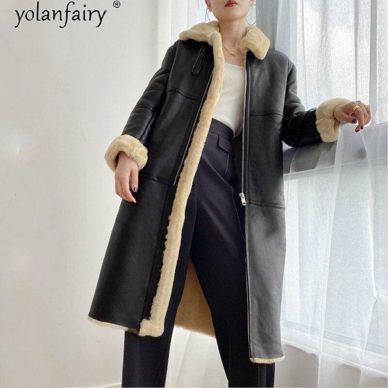 Manteau dhiver femmes en cuir véritable veste en peau de mouton naturelle véritable manteau de fourrure longue en peau de mouton de luxe mérinos manteaux de fourrure KJ5191