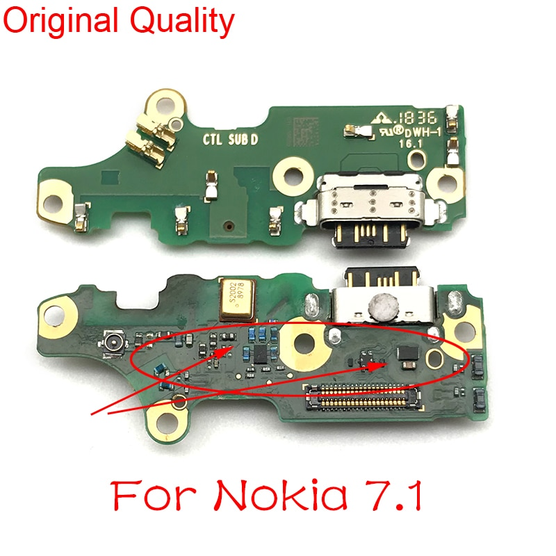 Conector de carga de alimentación USB para Nokia 7,1, puerto de muelle, micrófono, tablero de micrófono, Cable flexible