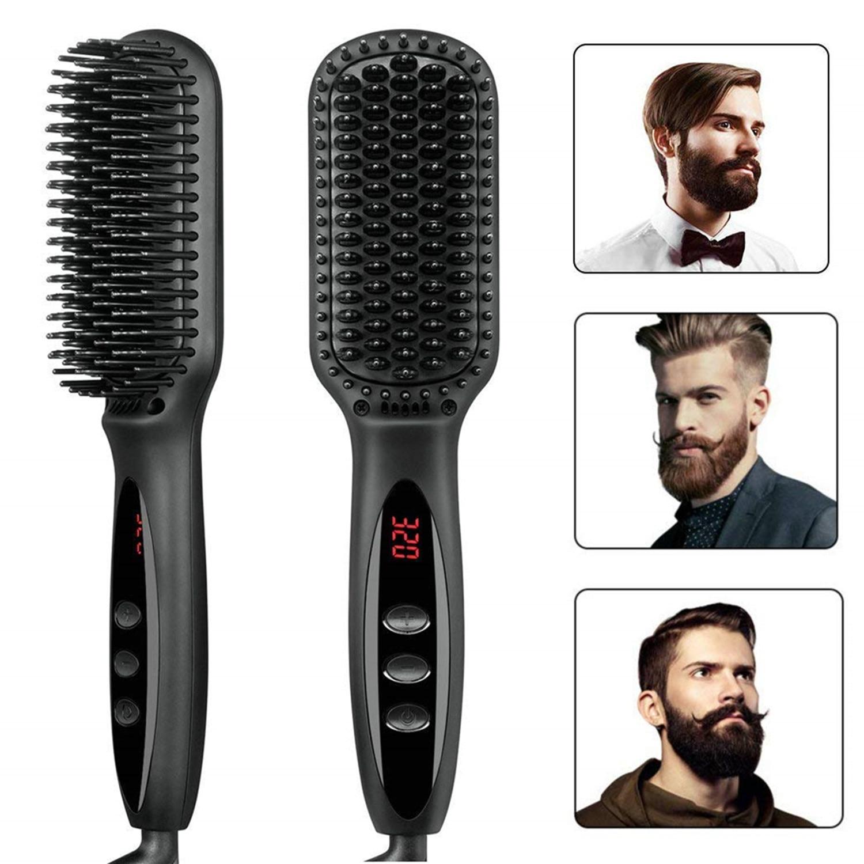 Hair Straightening Brush 2 in 1 Ionic Hair Straightener Brush Hot Comb Heating Smoothing Brush Beard Straightener