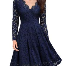 feelycc Summer Women Party Dress Vintage V Neck Long Sleeve Dress Lace Elegant Ladies Dresses with H