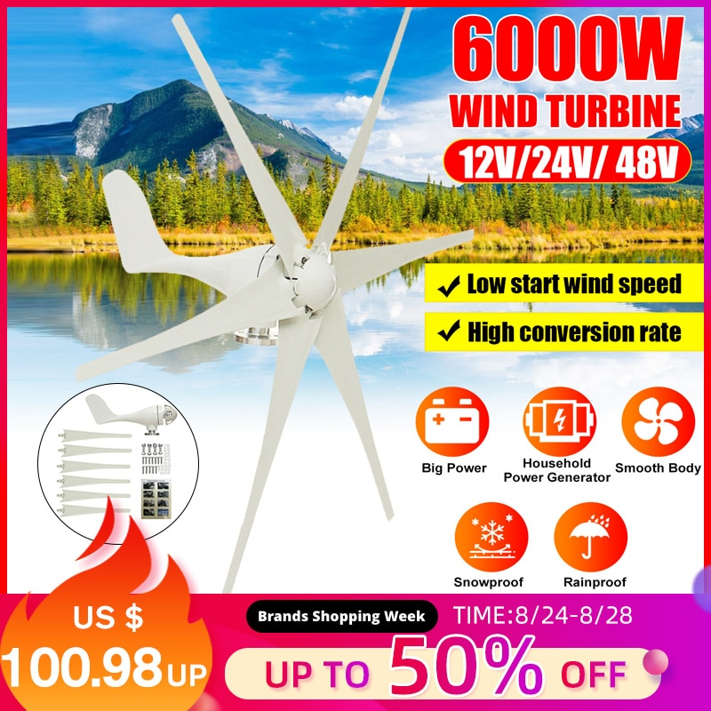 6000w gerador de turbinas eólicas 12v/24v/48v 6 lâminas turbinas eólicas casa horizontal poderes turbinas de energia do moinho de vento carga