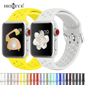 Sports Silicone Band For Apple Watch 6 SE 5 4 44MM 40MM Soft Silicone breathable bracelet Strap for iWatch 3 2 1 42MM 38MM strap