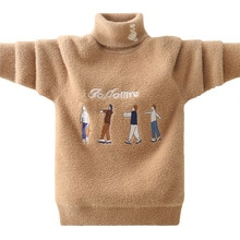 Pull dhiver à col roulé pour garçons   Pull garde au chaud, vêtements en coton pour enfants