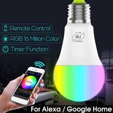 Ampoule intelligente à lumière magique Led RGB 7 W, éclairage domestique, lampe de Base E27, travailler avec adaptateur Google E12 E17 E30 G24 à E27