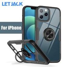 Custodia per telefono trasparente magnetica per iPhone 12 X XS 11 13 Pro Max su iPhone SE 2020 XR X 8 7 6S Plus anello supporto antiurto