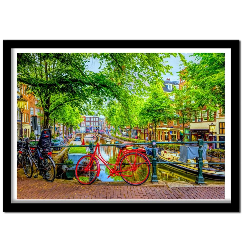 Cuadro de paisaje de diamantes 5D cuadrado completo/bicicleta roja redonda Amsterdam bordado de diamantes mosaico manualidad de punto de cruz decoración del hogar