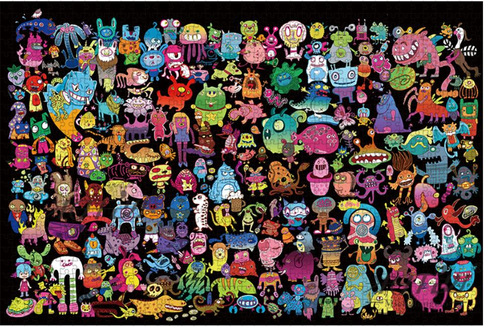 Rompecabezas de madera 500, 1000, 1500, 2000 piezas, juguete educativo de monstruos de dibujos animados de animales para chico, pintura para pared, decoración del hogar