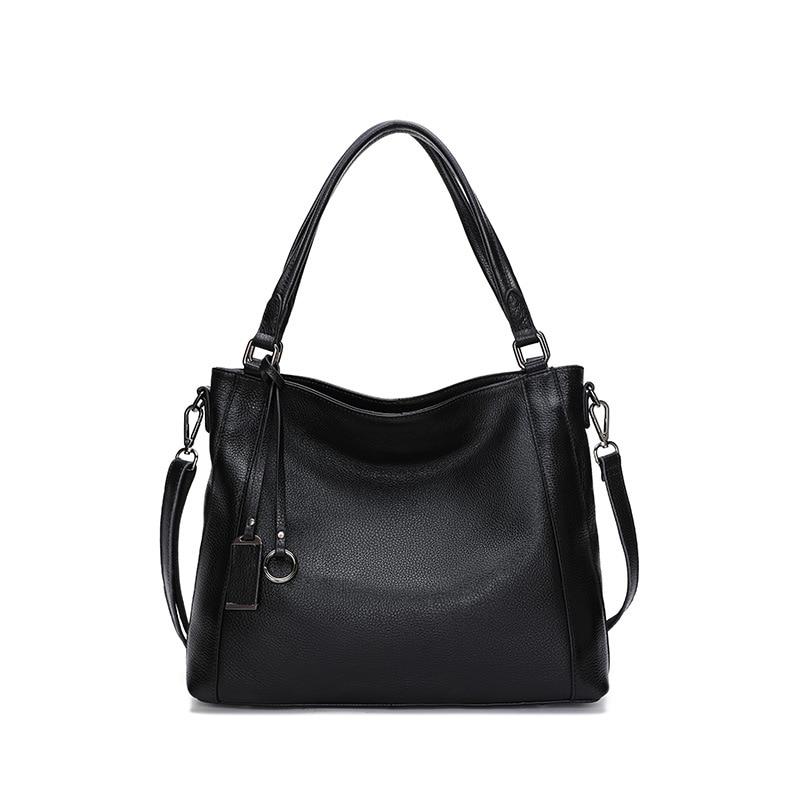 Large Capacity Women Shoulder Bag 100% Genuine Cow Leather Handbag Business Lady Crossbody Messenger Purse Black Casual Tote