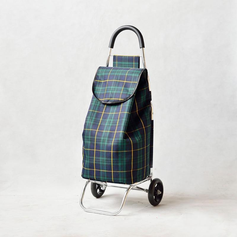 Canvas Bag Portable Folding Aluminum Alloy Push Rod Dragging Baggage Car Shopping Small Shopping Cart In The Elderly