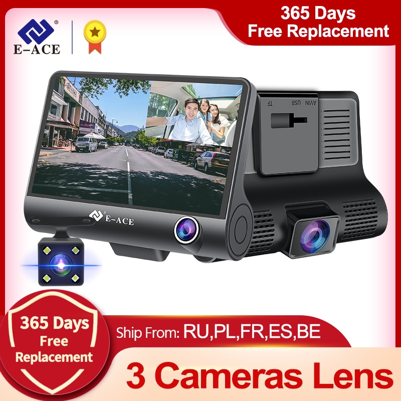 E-ACE Dashcam B28 سيارة DVRs 4 بوصة سيارة كاميرا FHD 1080P السيارات مسجل داش كاميرا 3 عدسة الكاميرا Registrator مع كاميرا الرؤية الخلفية