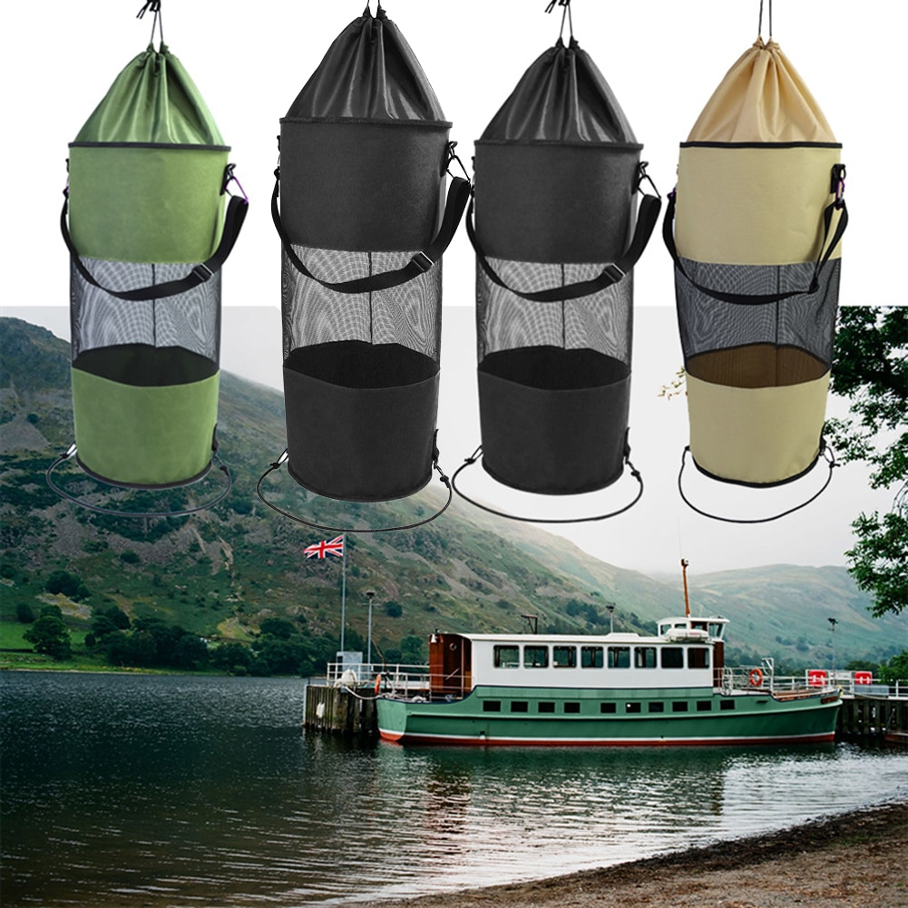 Boat Trash Bag Portable Outdoor Mesh Trash Bag for Your Boat Kayak Camper Hanging Breathable Pouch Large Clothes Organizer Pouch