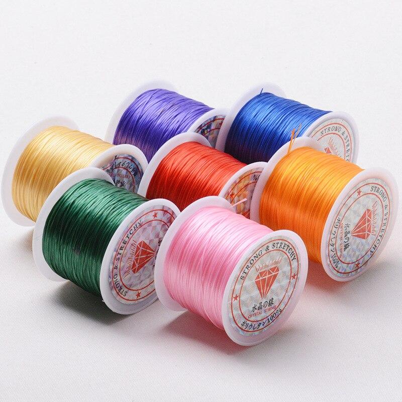 60m/rolo forte cabo elástico de cristal beading cords para diy pulseiras frisadas elásticas jóias que fazem linha de corda de linha de estiramento