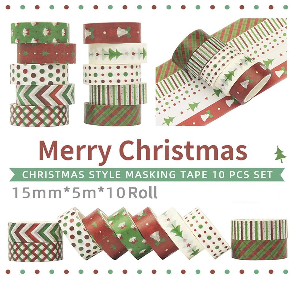 10 рулонный Декоративный Рождественский скотч декоративная лента для скрапбукинга бумага для маскировки клейкая лента васи лента Рождеств...