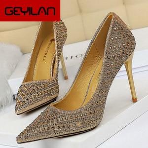 Shoes Metal Rivets Women Pumps Rhinestone High Heels Women Shoes Sexy Party Shoes Wedding Shoes Stiletto Plus Size 43