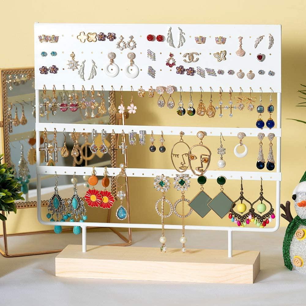 حامل قرط ، 3 مستويات ، منظم مجوهرات ، 144 فتحة مع قاعدة خشبية