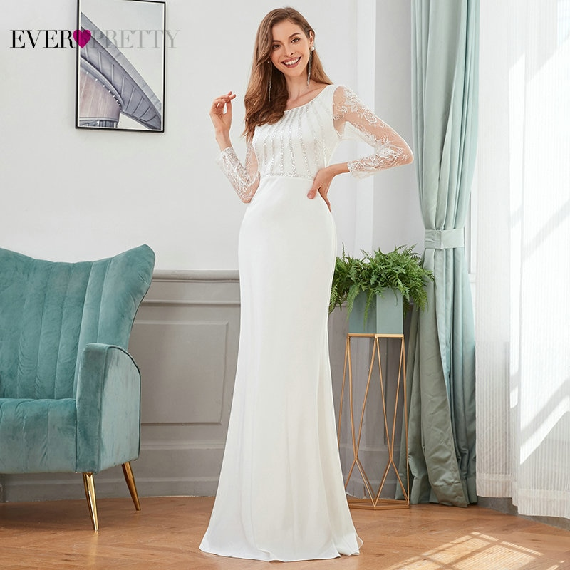 Robe Sexy Evening Dresses White Women Dress Long Elegant Party Prom Mermaid V Neck Sequined Maxi For