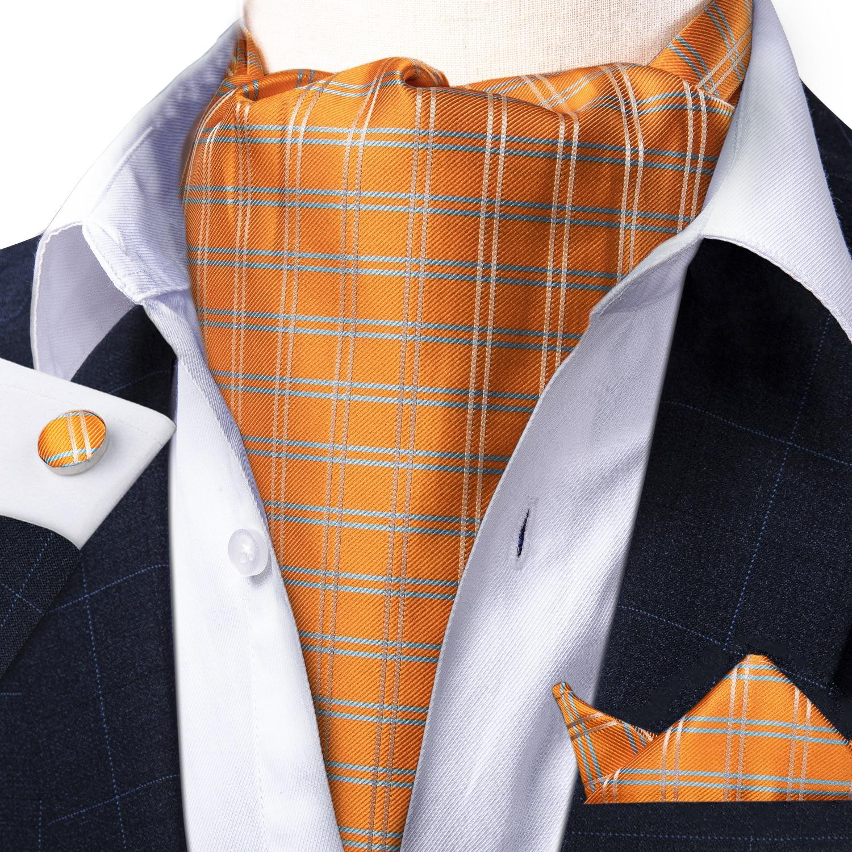 Men Vintage Orange Check Striped Silk Gentlemen Self Tie Cravat Ascot Necktie Handkerchief Set Wedding Party Ascot Tie DiBanGu ботинки front by ascot front by ascot fr009amcjuc5