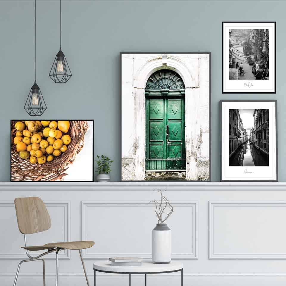 Lienzo nórdico imagen hogar Decoración calle vista limón pintura pared arte HD impresiones Hotel Vintage cartel Modular para sala de estar