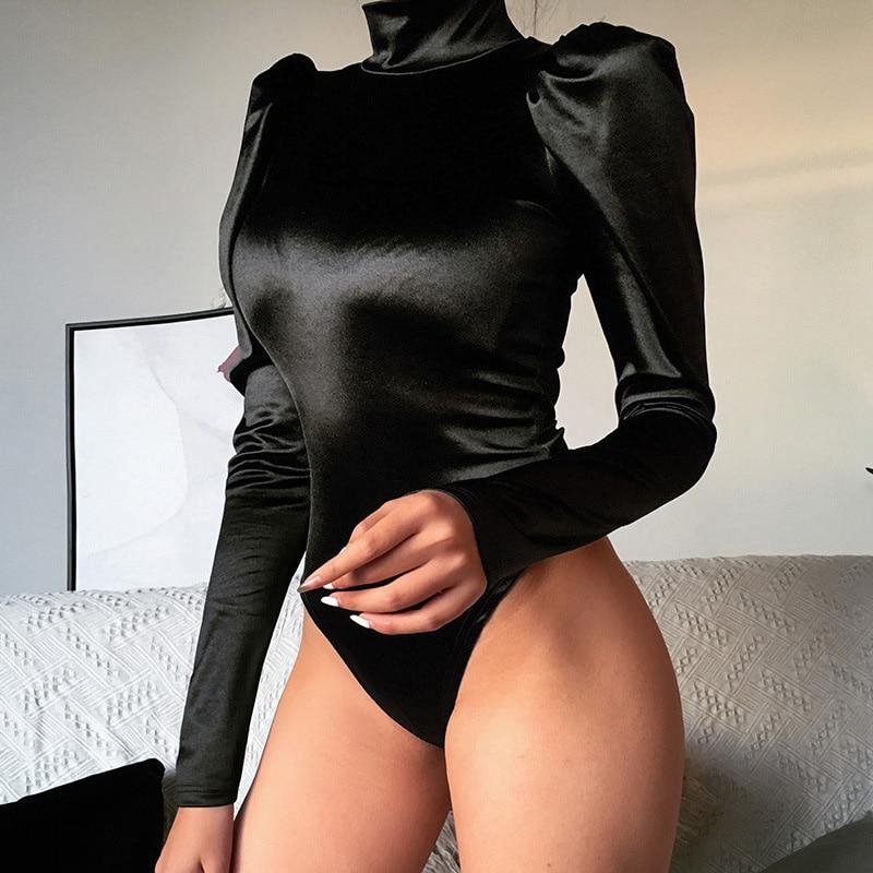 Body negro de cuello alto para mujer, mono femenino de manga larga con cremallera, mono Sexy de Moda de Primavera otoño 2020 para mujer
