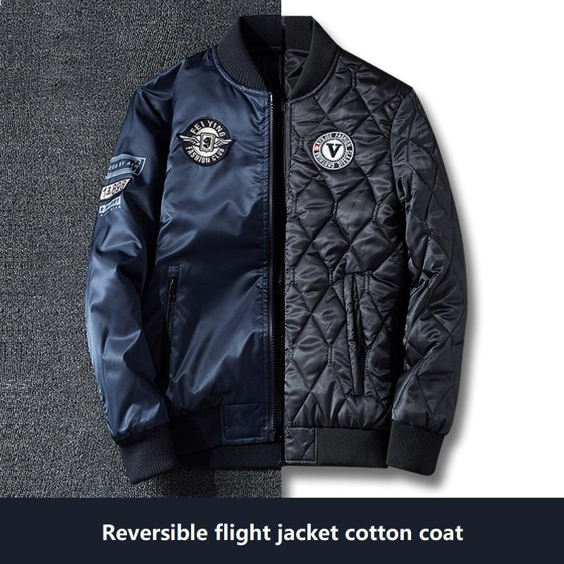Мужская куртка-бомбер, летная куртка ВВС, бейсбольная форма на осень и зиму, двухсторонняя Одежда большого размера, куртка из хлопка