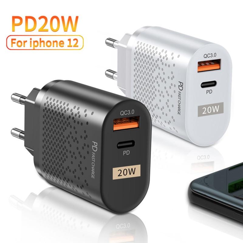 Cargador rápido de la policía de 20W adaptador de corriente USB tipo C para iPhone 12 pro max 11 Samsung Xiaomi y Cargador USB de teléfono