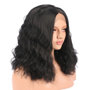 14 Inch Short Bob Body Wave Synthetic Wigs Natural Black Middle Part Lace Front Wig For Women Daily Cosplay Heat Resistant Soft
