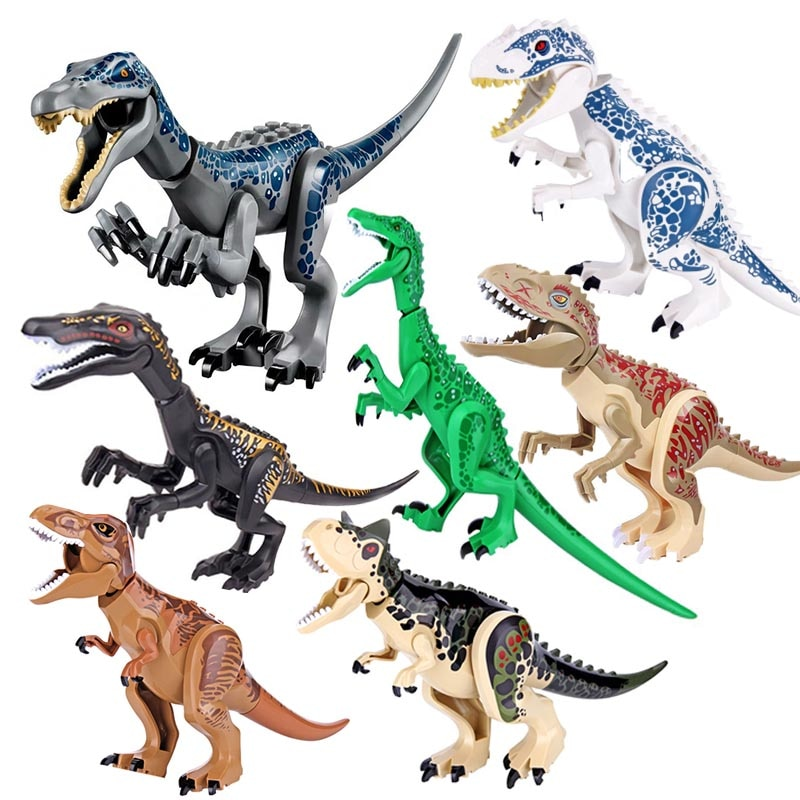 Jurassic Building Blocks World Dinosaurs Figures Bricks Baryonyx Tyrannosaurus Rex Indominus Rex I-Rex Assemble  Kids Toys