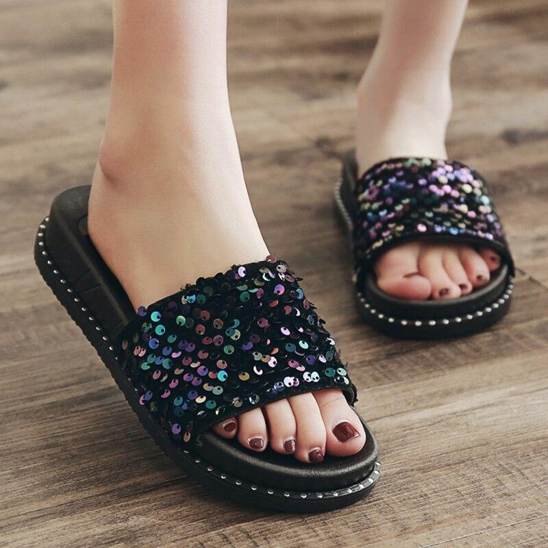 Bling de verano Zapatillas de deporte Zapatillas de mujer brillo lentejuelas playa...