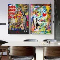 abstract graffiti art home decor canvas painting modern street wall art poster print picture for living room decoration painting