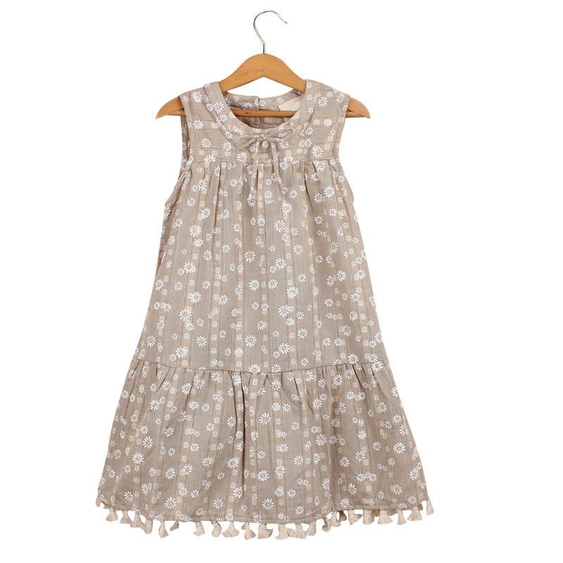 2020 nuevo verano de algodón de lino de estilo chino vestido sin mangas para niñas de 2-8 años de edad de encaje de gasa de borla suelta simple vestidos