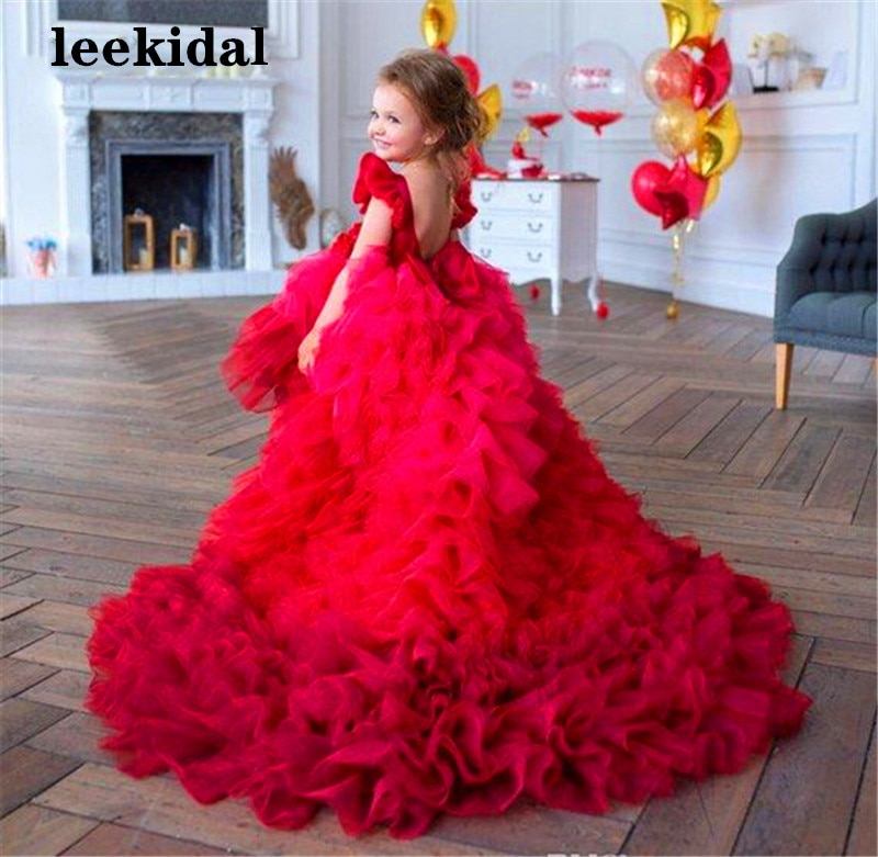 Red Cute Flower Girl Dresses Little Girls Infant Baby Birthday Party Gowns with Long Train Pageant Dress 2-16Year