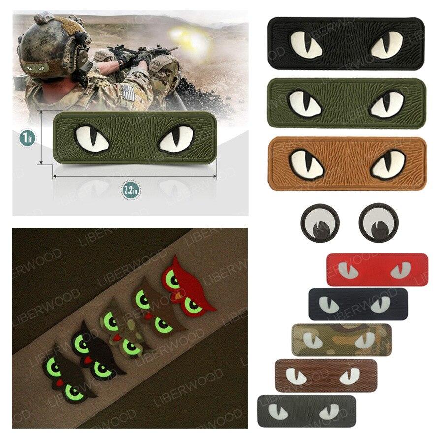 Тактическая нашивка Военная светящаяся в темноте нашивка с аппликацией в виде кошачьих глаз для тактического шлема