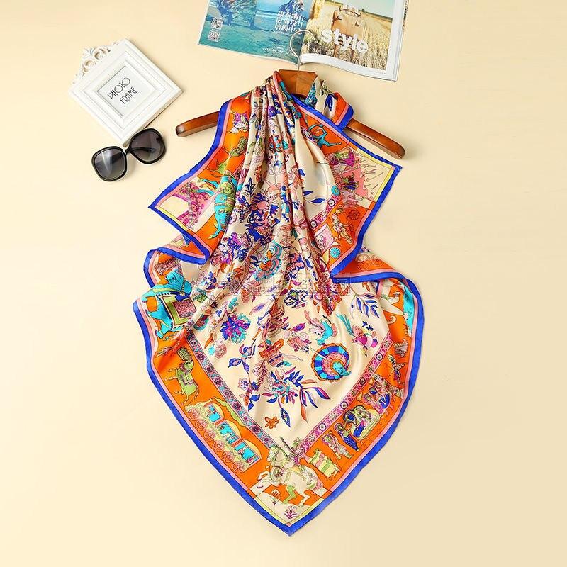 Pañuelos cuadrados de seda para mujer Fular 110*110cm cabeza de satén Hijab bufanda para mujer chal envoltura bufanda Pareo Bandana femenina