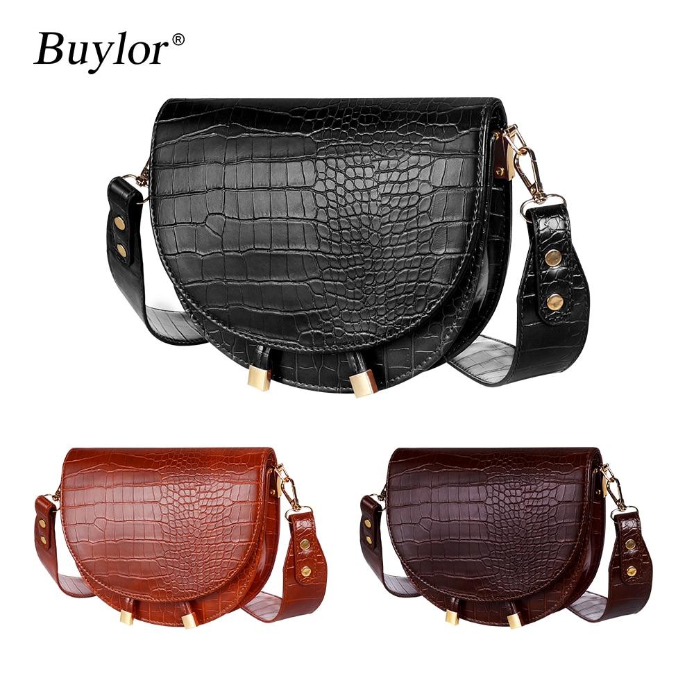 Buylor Women Luxury Shoulder Bags Crocodile Pattern Handbag Female Crossbody Bag Half Round PU Leather Messenger Bag