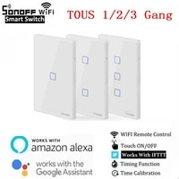 Latest WiFi Smart Switch TX T3 TO US 1 2 3 Gangs Smart Home Automation Wifi Wall Touch Smart Home Controller by Google