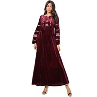 middle eastern fashion gold velvet robes casual pleated dress muslim saudi arabia long sleeved round neck loose large size dress
