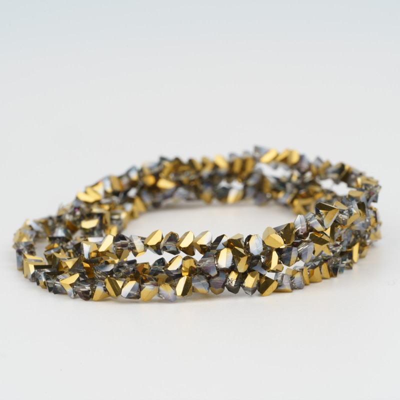 Translúcido ouro granel triângulo contas de cristal 4mm contas de semente de vidro 150 pçs para needlework artesanal jóias fazendo