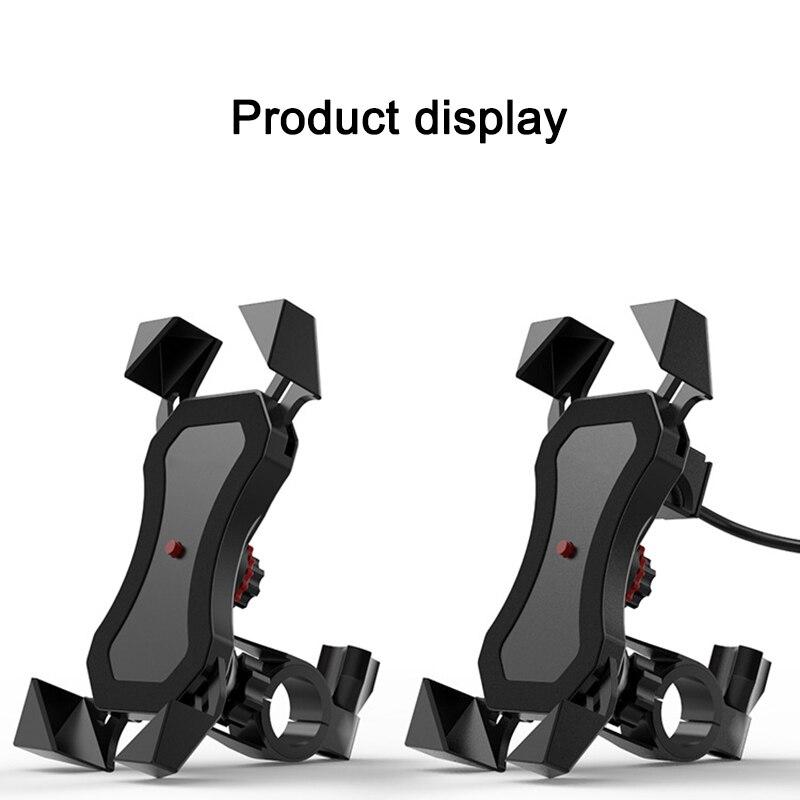 Soporte de teléfono de la motocicleta con carga rápida USB para el soporte de la motocicleta un tacto retráctil soporte de rotación de 360 grados para Huawei