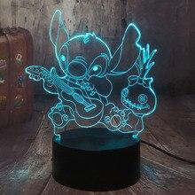 Dessin animé Figure point 3D LED veilleuse heureux point jouant de la guitare avec des amis Scrump sommeil lampe de bureau décor à la maison enfant cadeau