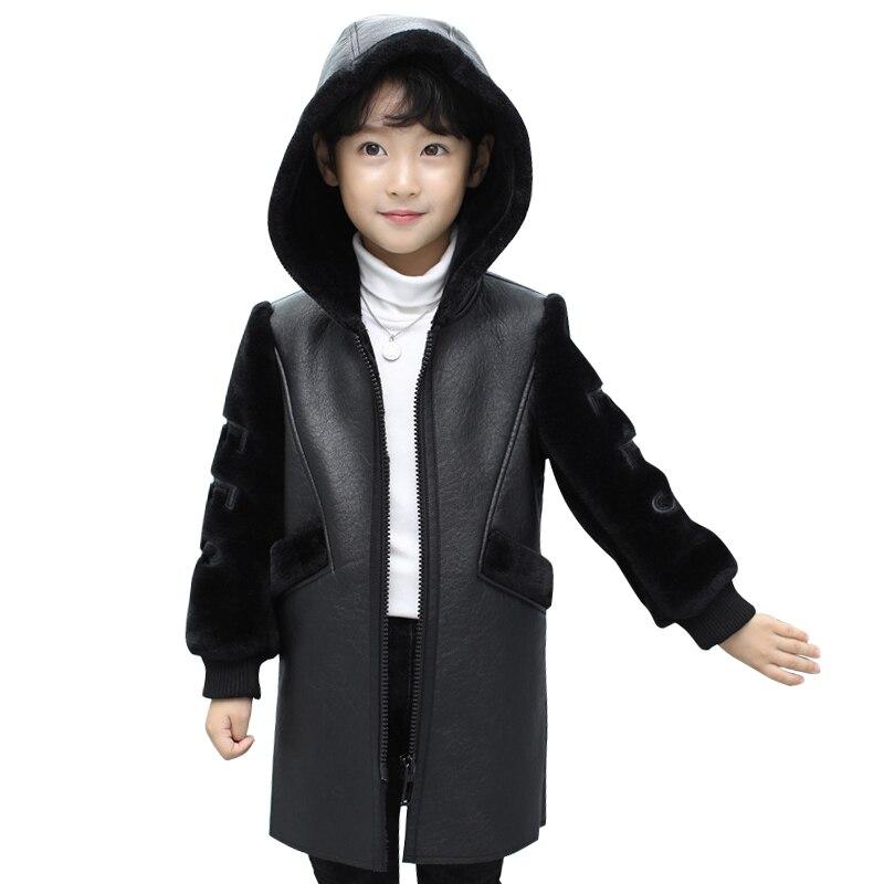 high quality girls jacket Autumn Winter Fashion Korean Children's Plus Velvet Warm PU Leather Jacket For 3-13Y boys coat