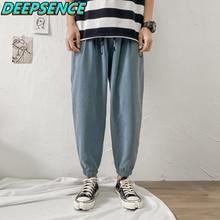 2021 New Four Season Casual Cargo Pants Men Korean Drawstring Letter Print Pant Chic Fashion Streetw