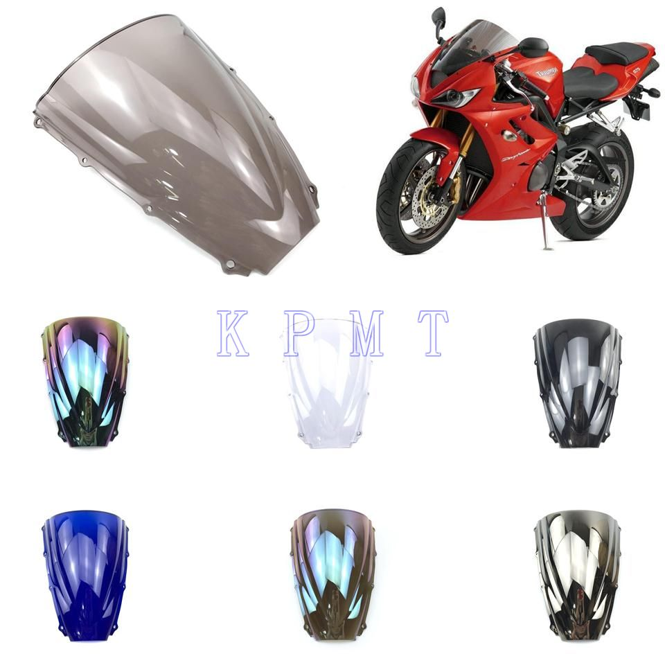 Parabrisas de doble burbuja para motocicleta, para Triumph Daytona 675 675R 2006 2007 2008 06 07 08